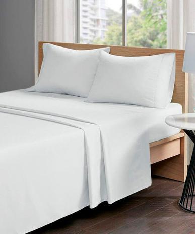 Menor preço em Jogo lençol cama casal 4 peças percal 200 fios 100% algodão - branco - casal - Hazime Enxovais