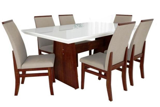 82dab98a8 Jogo Mesa Roma Retangular Laqueado Branco 6 Cadeiras Veneza - Tradição