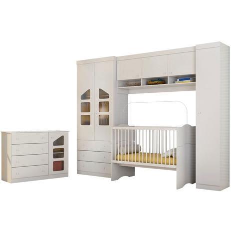 ed2241b90 Jogo Quarto Infantil Modulado com Cômoda Eloísa e Berço Mini Cama Alegria  Branco - Phoenix Baby