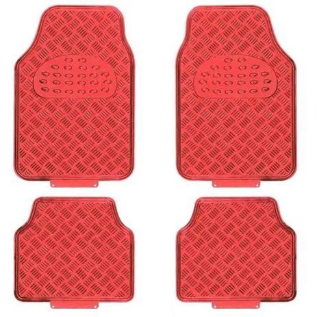 bd8ead395 Jogo Tapete Automotivo Tipo Alumínio Vermelho Tuning Carro 4 Peças - Uso  Universal - Estamparia paulista peças e acessórios automotivos