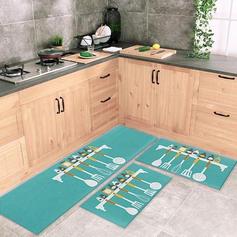 Imagem de Jogo Tapete De Cozinha Spices And Cutlery 3 Peças Com Antiderrapante