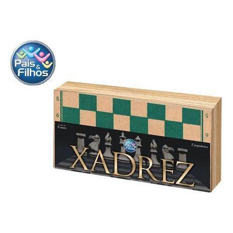 Imagem de Jogo Xadrez com Caixa de Madeira 40CM sem Feltro Pais e Filhos 2828