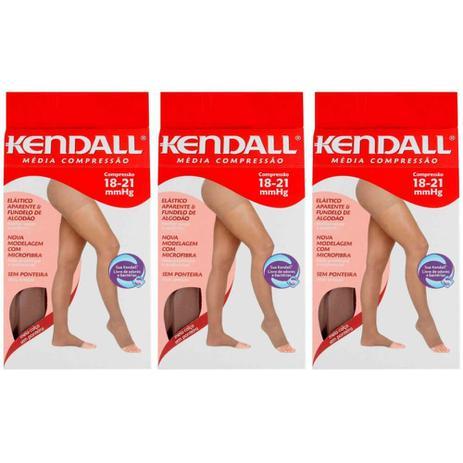 907d0c597 Kendall 1703 Meia Calça Média Compressão S  Ponteira Mel G (Kit C 03 ...