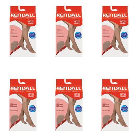 03c8ce05ed Kendall 1873 Meia 3 4 Média Compressão S  Ponteira Mel G (Kit C 06 ...