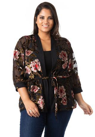 Imagem de Kimono Feminino Floral de Tule e Renda Plus Size