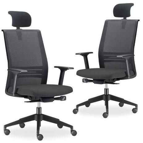 e57e6899d Kit 02 Cadeiras de Escritório Giratória Presidente Com Apoio de Cabeça  Agile Preto - Lyam Decor - Lymdecor