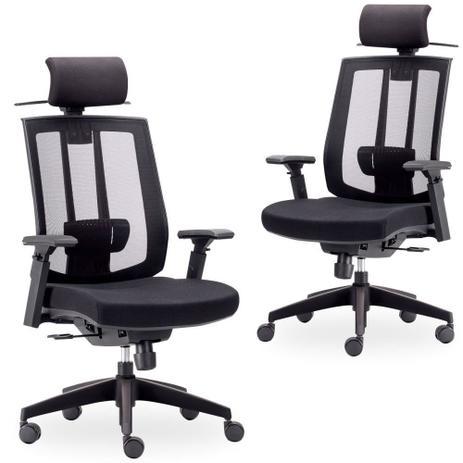 44e6be4db Kit 02 Cadeiras de Escritório Giratória Presidente Executiva Song Preto - Lyam  Decor - Lymdecor