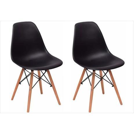 Imagem de Kit 02 Cadeiras Eiffel Charles Eames em ABS Preta com Base de Madeira DSW
