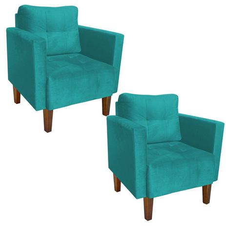 Kit 02 Poltrona Decorativa Lívia para Sala e Recepção Suede Azul Tiffany -  DRossi d50e98d880