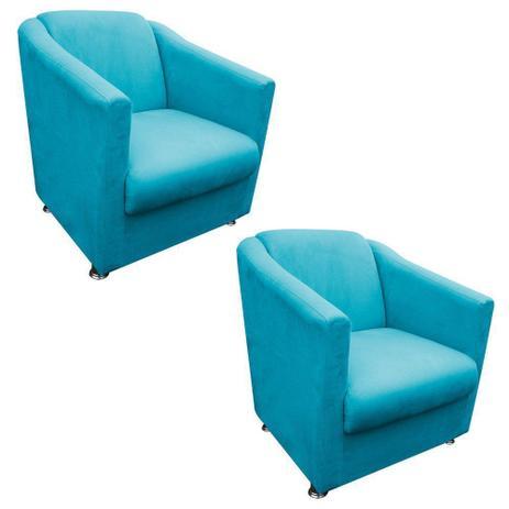 Kit 02 Poltronas Decorativa Tilla para Sala e Recepção Suede Azul Tiffany -  DRossi 22293e8f57