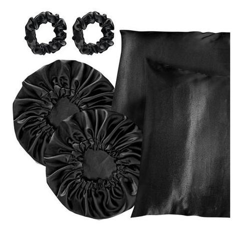 Imagem de Kit 02 Toucas Cetim Luxo Anti-frizz + 02 Fronhas + Xuxinhas