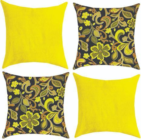 Imagem de Kit 04 Almofadas Cheias 45x45 Decoração Modernas Amarela