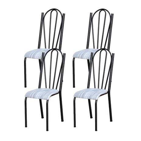 Imagem de Kit 04 Cadeiras Tubular Cromo Preto 021 Assento Linho
