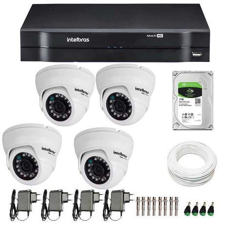 c751233e1644c Kit 04 Câmeras de Segurança Dome HD 720p Intelbras VMD 1010G3 + DVR  Intelbras Multi HD + HD 1TB + Acessórios
