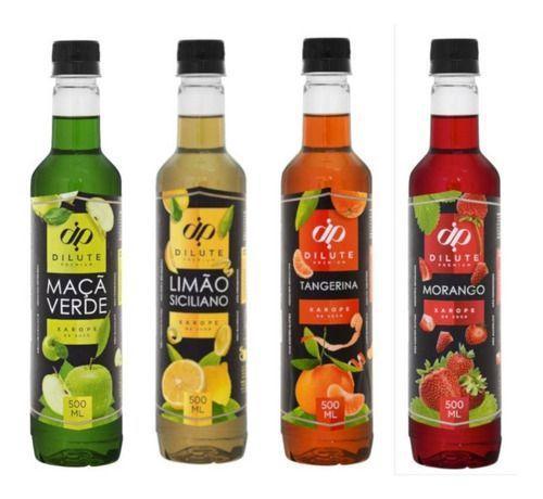 Imagem de Kit 04 XAROPE DILUTE PREMIUM SODA ITALIANA 500 ml - Limão Siciliano  Maçã Verde Tangerina  Morango