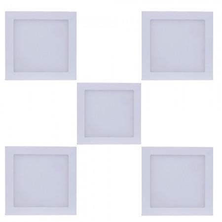Imagem de kit 05 peças Luminária Plafon LED Quadrado Sobrepor 18w Branco Frio 6500k