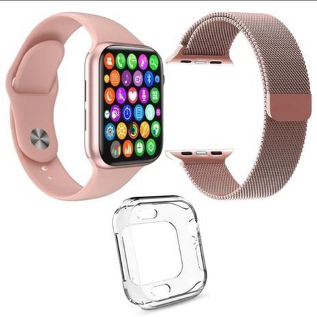 Imagem de Kit 1 Relógio Inteligente SmartWatch W34 S Rosa + 1 Pulseira Aço Milanese Rosa + 1 Case Silicone