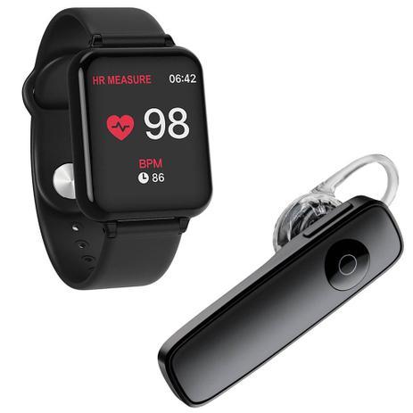 Imagem de Kit 1 Relógio Smartwatch B57 Hero Band 3 Preto + 1 Fone De Ouvido Sem Fio Bluetooth Headset Preto