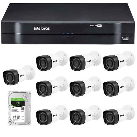 c21c463fd7d87 Kit 10 Câmeras de Segurança HD 720p HB Tech + DVR Intelbras Multi HD + HD  para Gravação 1TB + Acessórios