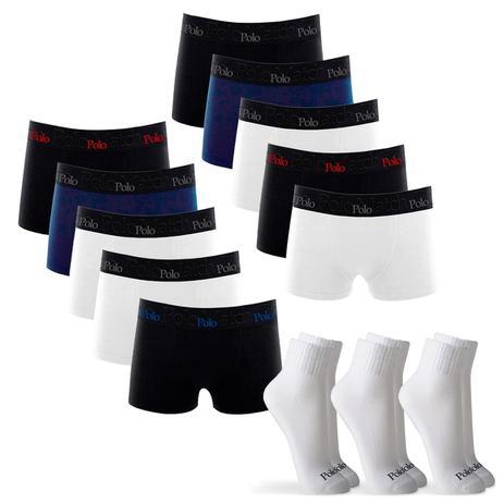 cd89e6a3d Kit 10 Cuecas Boxer de Cotton 4.0 com 3 Pares de Meia Cano Médio Branca M - POLO  Match