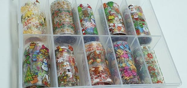 Imagem de Kit 10 Fitas Foil Unhas  Decoração Transfer Nail Tema Natal