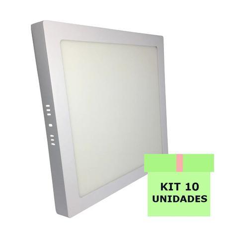 Imagem de Kit 10 Luminária Led Painel Plafon Sobrepor 25W Quadrado 30x30cm Branco Frio
