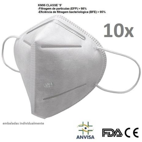 Imagem de Kit 10 Máscara K N 95 Anvisa  FDA Ca Bfe95% REGISTRO ANVISA