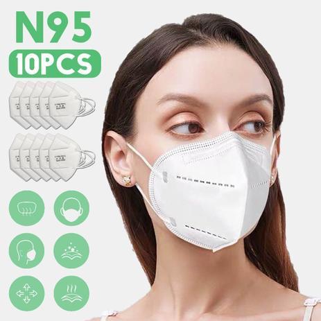 Imagem de Kit 10 Máscaras Hospitalar Pff2 N95 Padrão KN95 Envio Imediato