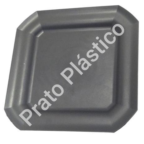 Imagem de Kit 10 Pratos Rasos Plástico Quadrado 24x24cm para Salada Lanche Cozinha Festa Buffet Cor: Preta
