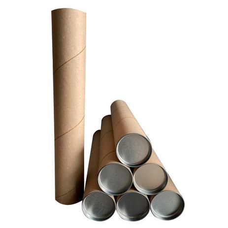 Imagem de Kit 10 Tubo Tubete Canudo Papelão 46cm x 7,3cm Ø C/ Tampa