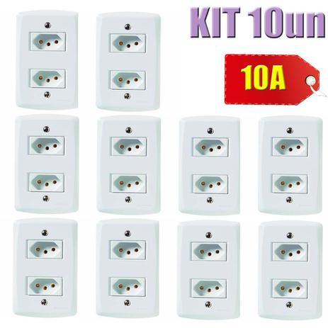 Imagem de KIT 10un 2 Tomadas 2P+T 10A Lux2 Branco - Tramontina