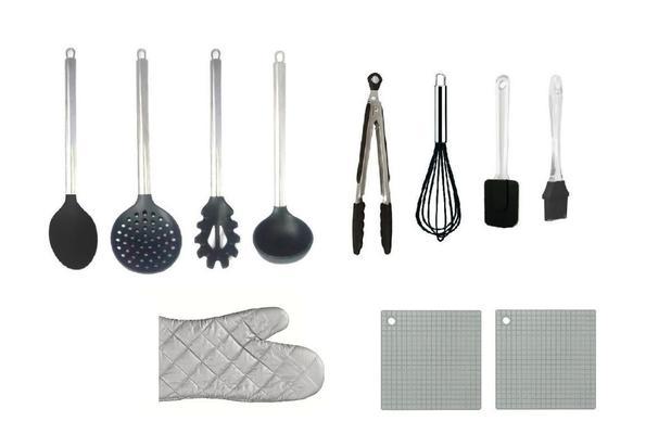 Imagem de Kit 11 Pç Utensílios De Cozinha Colheres De Silicone + Luva
