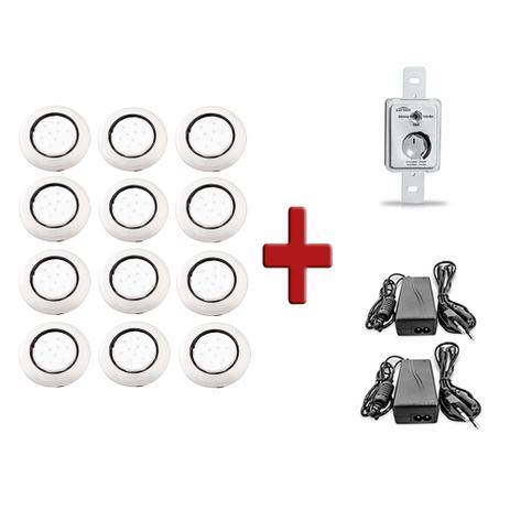 95e9e5ba2 Kit 12 Luminárias de Piscina 9w 125mm Led Branco Corpo Transparente +  Controle + Fonte - Iluctron