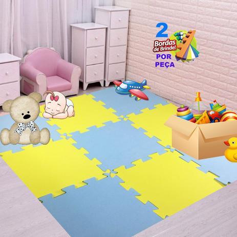 Imagem de Kit 15 Pçs Tapete emborrachado De Eva Tatame azul BB Amarelo Infantil 50x50x1cm