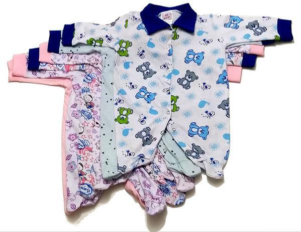 Imagem de Kit 15 peças de bebê= 5 Macacão 5 Body Manga Longa 5 Mijão