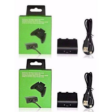 Imagem de Kit 2 Bateria Cabo Carregador Controle Xboxone Charge Play 8800mah