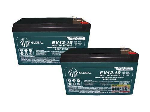 Imagem de Kit 2 Bateria Global 10ah 12v Bike Elétrica 6dzm10 Two Dogs Bike Elétrica