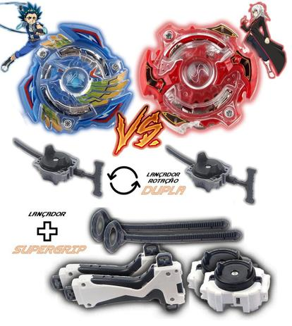 Imagem de Kit 2 Beyblade Burst + 4 Lançadores Valtryek Vs Spryzen Tornado Gyro