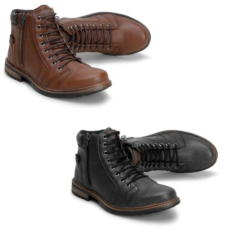 925a5d310 Kit 2 Botas Coturno Masculino Fecho Zíper Casual Conforto - Pedway calçados