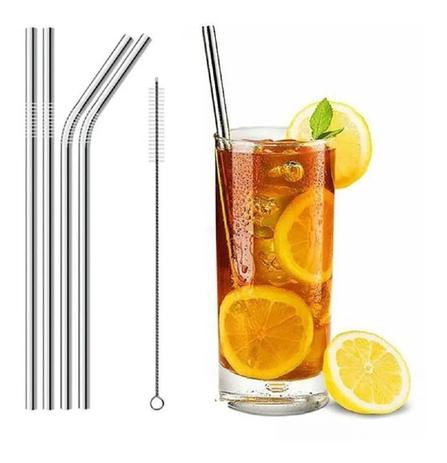 Imagem de Kit 2 Canudos Aço Inox + Escova Reutilizável 26,5 Cm Drink