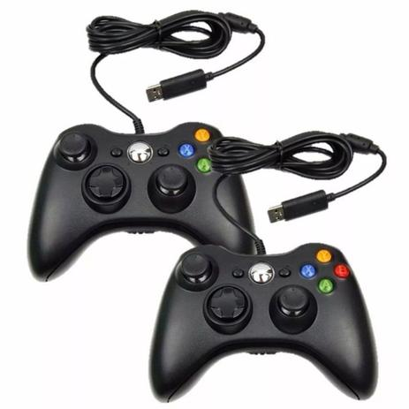 Imagem de Kit 2 Controles Manete X360 Computador Pc Com Fio Joystick Usb