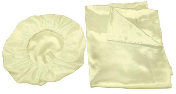 Imagem de Kit 2 Fronhas 50x70 +1 Touca De Cetim Anti Frizz Pérola