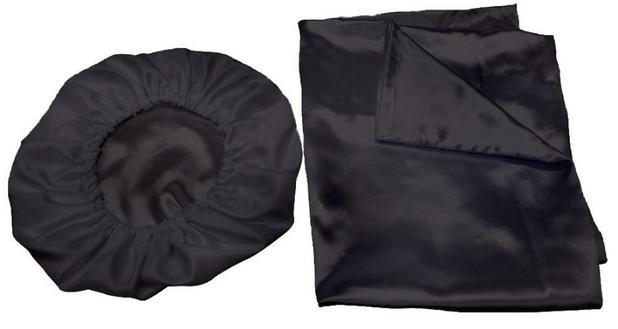 Kit 2 Fronhas 50x70 +1 Touca De Cetim Anti Frizz Preta - Confecções elba f90c0115a12