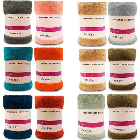 Imagem de Kit 2 Manta Cobertor Queen Microfibra Soft Macia Fleece 220x240cm Camesa - Emcompre