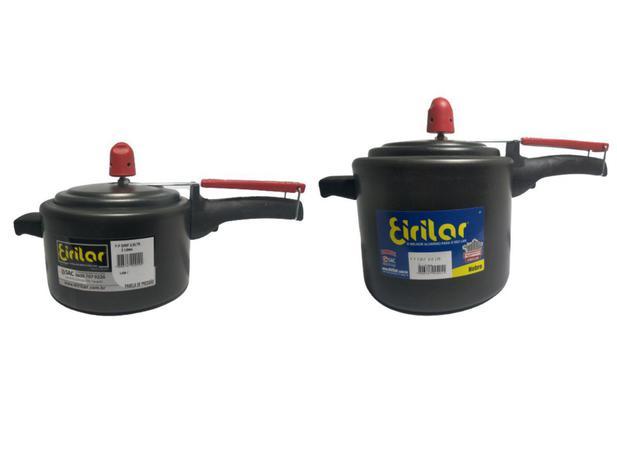 Imagem de Kit 2 Panelas De Pressão Pequena 2 + 3 Litros Teflon Antiaderente Preta Aluminio Fechamento Interno