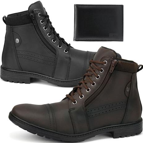 eff80d0d90fea Kit 2 Pares Bota Coturno Casual Masculino Combo Com Carteira - New style