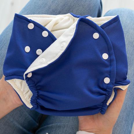 Imagem de Kit 2 Peças Fralda Ecológica Reutilizável e Absorvente de Pano Lavável Bebê Marinho