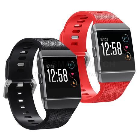 Imagem de KIT 2 Pulseiras de Silicone Preto e Vermelho para Relógio Fitbit Ionic