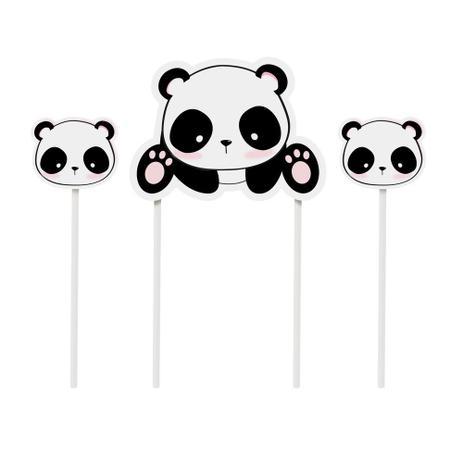 Imagem de Kit 2 Topos De Bolo Espeto Compose Panda Sortido Dec. Festas