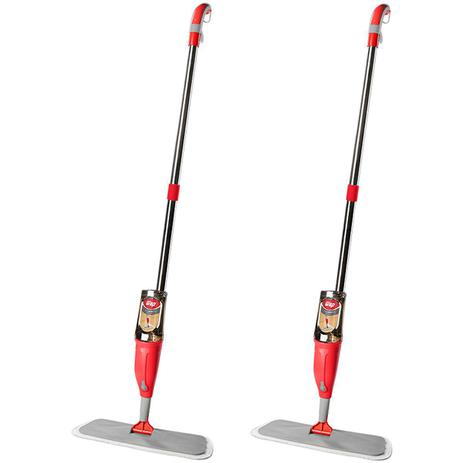 Imagem de Kit 2 Vassouras Mop com Spray e Reservatório para Limpeza Rodo Mágico Limpa Fácil 1 Refil Wap